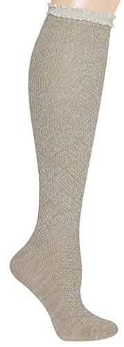 Capelli New York Diamond Stitch Marled Knee High Sock With Crochet Cuff Natural Combo One Size >>> Read more reviews of the product by visiting the link on the image.