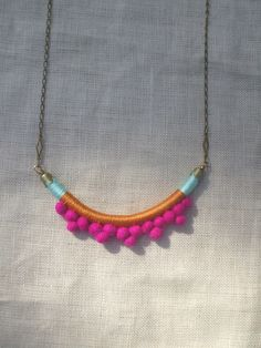 The FRANKIE Necklace Color Study No. 16--Handmade with Felted Wool Pom Poms, Cotton, Leather, and Brass