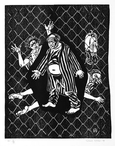 """Featured in National Gallery of Australia Collection, """"Intensive Psychiatric Care Unit (Rozelle Hospital, Callan Park)"""", 1996 woodcut 80 x 60 cm by Susan Dorothea White"""