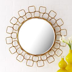 vintage-inspired antique gold wall mirror
