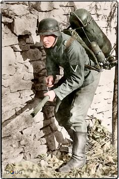 1941- German caption stated that this soldier, armed with only a flame thrower and a few hand grenades, in one day destroyed seven bunkers and captured 50 Soviets.