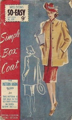 "Vintage 1940's Sewing Pattern Simple Box Coat B 34"" Reproduction #Weldons"