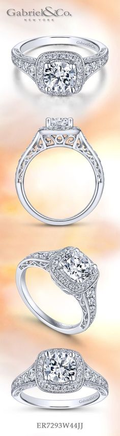 Gabriel & Co.-Voted #1 Most Preferred Fine Jewelry and Bridal Brand. 14k White Gold Round Halo Engagement Ring Popular Engagement Rings, Round Halo Engagement Rings, Engagement Rings Cushion, Engagement Ring Styles, Beautiful Engagement Rings, Diamond Wedding Rings, Vintage Diamond Rings, Halo Rings, Beautiful Wedding Rings