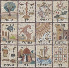 Mosaic of the 12 Tribes of Israel Right to left: Top row: Reuben, Judah, Dan, Asher Middle: Simeon, Issachar, Naphtali, Joseph Bottom: Levi, Zebulun, Gad, Benjamin