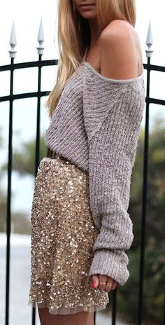 Sequin skirt + knit.