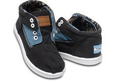 Price: $38, UCLICK SHIPPING: (1kg) fr $9 Blue Black Block Tiny TOMS Botas hero