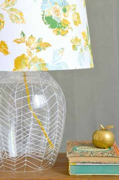 DIY: herringbone lamp with thrifted items and sharpie paint marker