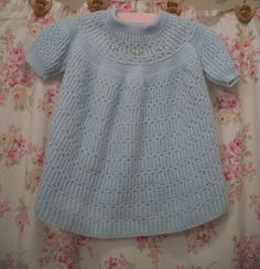 1960 vintage hand knit baby girl dress, powder blue, pink rosebuds.