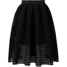 Choies Black Sheer Stripe Skater Midi Skirt (€37) ❤ liked on Polyvore