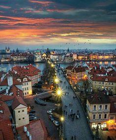The best sunset over Prague! Photo by Explore. Best Sunset, Beautiful Sunset, Budapest, Wonderful Places, Beautiful Places, Places To Travel, Places To Visit, Prague Travel, Prague Czech Republic