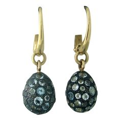 Pomellato Tabou Gold Burnished Silver Blue Topaz Earrings | From a unique collection of vintage drop earrings at https://www.1stdibs.com/jewelry/earrings/drop-earrings/
