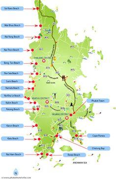 Phuket Beaches Location Map Location Map of Phuket Island Beaches : New Zone