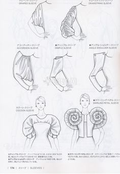 rukávy Guid to Fashion Design by Bunka fashion coollege (Japan)/ sleeves Fashion Design Sketchbook, Fashion Design Drawings, Fashion Sketches, Fashion Illustrations, Blog Couture, Style Couture, Couture Fashion, Clothing Patterns, Sewing Patterns