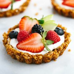Fresh Fruit Tart with Yogurt and Granola Crust Recipe Desserts, Breakfast and Brunch with old-fashioned oats, chopped walnuts, sesame seeds, coconut oil, honey, vanilla extract, ground cinnamon, greek yogurt, mixed fruit