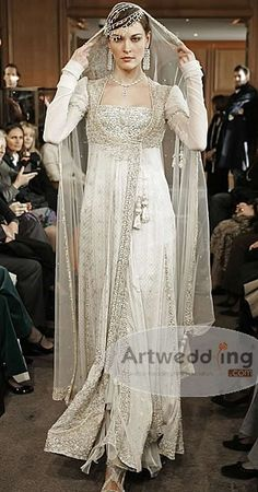 Modest gown with sequins.
