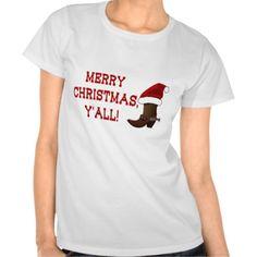 Merry Christmas Y'all - Santa Boot Tee Shirts