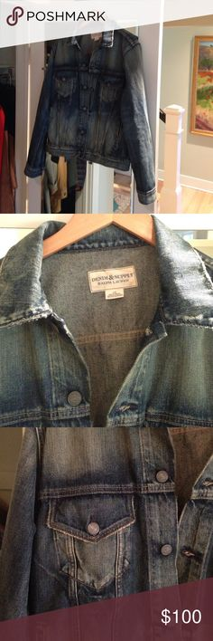 Jean jacket, slightly distressed, worn once. This jacket is a great fall and winter piece for layering or that t-shirt popped collar look! Denim & Supply Ralph Lauren Jackets & Coats Military & Field