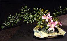 Basic var no 3 Slanting Moribana  Italian Ruscus Lily  Solidago By Dolores