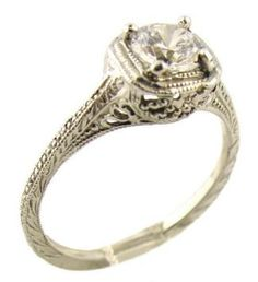 Vintage Looking Engagement Rings | 14k White Gold Vintage Style Filigree .50ct Moissanite Engagement Ring