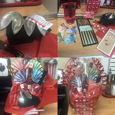 Valentines Day Chinese Food Gift Basket   Items included: silver fortune cookie (create your own personalized fortune), cute dinner bell, chopsticks, red tissue paper, Chinese gift box, cello wrap, Canadian bills (different coloured bills look fabulous fanned out) & mini valentine wooden clips.