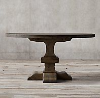 RH's Reclaimed Russian Oak Baluster Round Dining Table:Handcrafted of solid reclaimed white oak timbers from decades-old buildings in Russia, our trestle-style table draws from a tradition of dining and banqueting furnishings that dates to the 17th century.