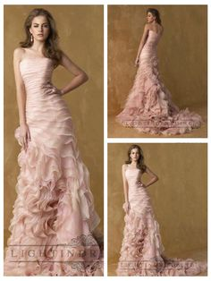 Romantic Pink Strapless A-line Ruffles Wedding Dresses  #wedding #dresses #dress #lightindream #lightindreaming #wed #clothing #gown #weddingdresses #dressesonline #dressonline #bride  http://www.ckdress.com/romantic-pink-strapless-aline-ruffles-wedding-dresses-p-13.html