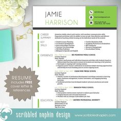 teacher resume template resume with free cover letter and references instant download ms - Free Teacher Resume Templates Download