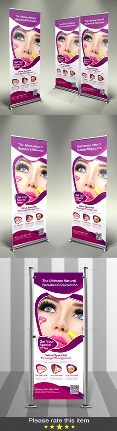 Beauty & Health Roll-up Banner by blackrose7 Features: CMYK color mode Size: 3070 inch (3272 with Bleed) Photoshop PSD File 150 DPI Help Guide Included Preview image is not in