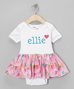 Look at this Gus & Lola Pink Personalized Skirted Bodysuit - Infant on #zulily today!