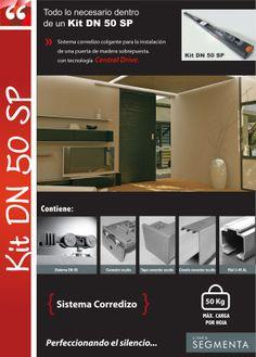 Kit DN 50 SP. Sistema corredizo colgante para la instalación de una puerta de madera sobrepuesta de hasta 50 Kg.