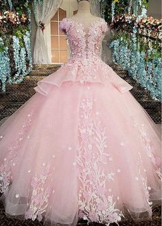 Cheap bohemian wedding gown, Buy Quality wedding gowns directly from China luxurious wedding Suppliers: Pink Flower Luxury Wedding Dress 2018 Ball Gown Bride Dresses Lace Vestido de Casamento Cap Sleeve Diamond Bohemian Wedding Gown Dresses Elegant, Sweet 16 Dresses, 15 Dresses, Ball Dresses, Pretty Dresses, Beautiful Dresses, Ball Gowns, Bride Dresses, Pink Wedding Dresses