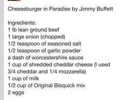 Cheeseburger In Paradise Casserole recipe By Jimmy Buffet, Pascagoula, Mississippi native.  (photo in link)