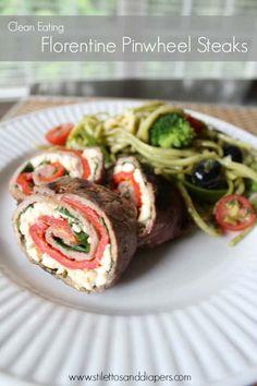 Clean Eating: Florentine Pinwheel Steaks - Stilettos & Diapers Rib Recipes, Clean Eating Recipes, Whole Food Recipes, Healthy Eating, Cooking Recipes, Healthy Recipes, Yummy Recipes, Healthy Food, Clean Dinners