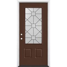 d64886635bf Masonite Hancock 3 4 Lite Decorative Glass Right-Hand Inswing Chocolate  Painted Fiberglass Prehung Entry Door with Insulating Core (Common  36-in x  80-in  ...