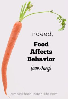 Indeed, food affects behavior - our story about how one tiny ingredient in some organic cheese crackers dramatically affected our two-year old's behavior.  -Simple Life Abundant Life