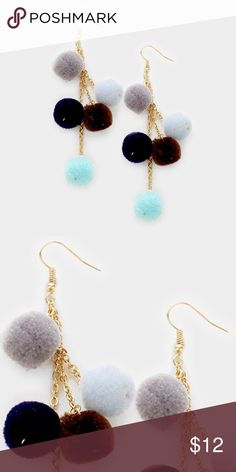"""Pom Pom Earrings • Color : Multi  • Size : 1"""" X 4"""" • Fish Hook Back • Pom pom dangle earrings Jewelry Earrings"""