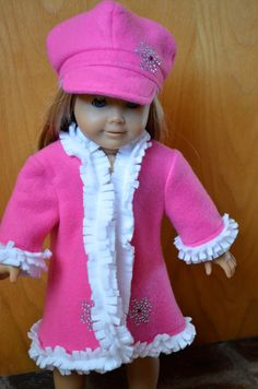 Pink and White Fleece Jacket and Hat