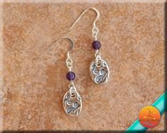 Butterfly earrings, Women's Dangle, fine silver, amethyst, February birthstone, handmade fine silver dangle, handmade charm,