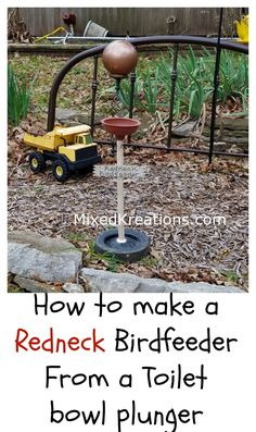 How to Make a Redneck Bird Feeder out of a wheel and a toilet plunger / repurposed toilet plunger / diy redneck birdfeeder />