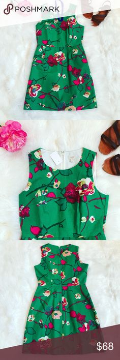 NEW J. Crew Green Floral Sheath Dress Newly listed!  J. Crew green floral sheath dress.  Size 8.  100% cotton, fully lined.  Heavier weight knit - feels like linen.  Perfect condition! J. Crew Dresses