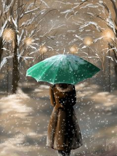 Digital Painting - Snow by Veronica Minozzi Painting Snow, Painting & Drawing, Umbrella Art, Snow Art, Winter Art, Winter Scenes, Beautiful Paintings, Veronica, Art Photography