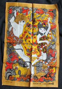 Vintage Retro Oxfam Belinda Lyon Tea Towel Tarzan and Jane Pure Irish Linen lion in Collectables, Kitchenalia, Other Kitchenalia | eBay