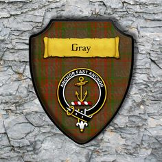 Gray Plaque with Scottish Clan Badge on Clan Tartan Background by YourCustomStuff on Etsy https://www.etsy.com/listing/526797031/gray-plaque-with-scottish-clan-badge-on