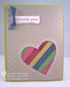 Northwest Stamper » Jennifer Blomquist, Stampin' Up! Demonstrator » Using Ribbon Scraps–The Ribbon Heart Card