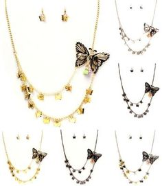 $7.50 Butterfly BEAD NECKLACE AND EARRING SET