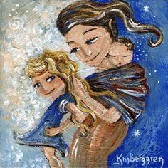 Bonding, Braiding~ babywearing mother print by Katie m. Berggren
