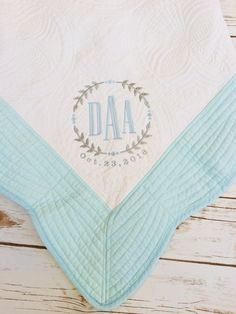 This blue heirloom quilt has blue edges and comes with complementary monogramming. It is perfect for you sweet little boy! You can add initials, name, and birth date. This is great for baby shower gifts. Baby Boy Quilts, Embroidery Monogram, Blue Quilts, Monogram Letters, Baby Blankets, Monograms, Baby Names, Baby Shower Gifts, Machine Embroidery