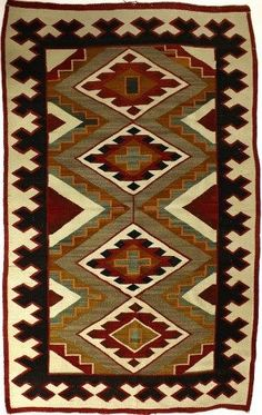 C. 1920's Navajo rug showing nice tight weave,