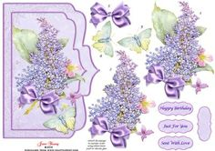 """Lilac Time on Craftsuprint designed by June Young - A shaped card front which will fit a 7"""" x 5"""" card. A large sprig of Lilac blossom and a green butterfly on an embossed background with two narrow raised frames. This design can be used for practically any occasion. There is decoupage for both the floral elements and the butterfly and there are four greetings plates, one is blank for your own lettering. - Now available for download!"""