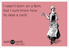 I wasn't born on a farm, but I sure know how to raise a cock!